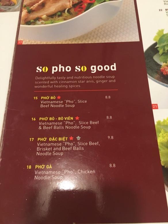 So Pho - Menu Pho