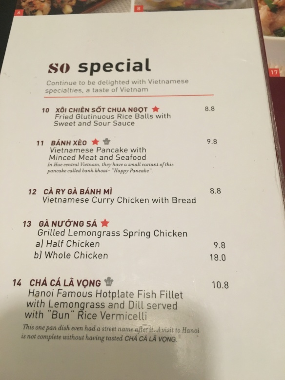 So Pho - Specials menu