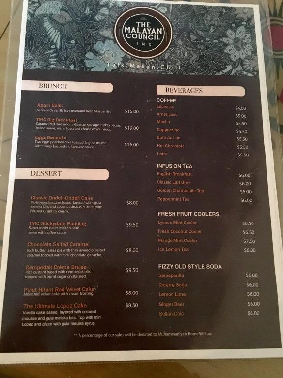 The Malayan Council Menu - Brunch Dessert and Drinks