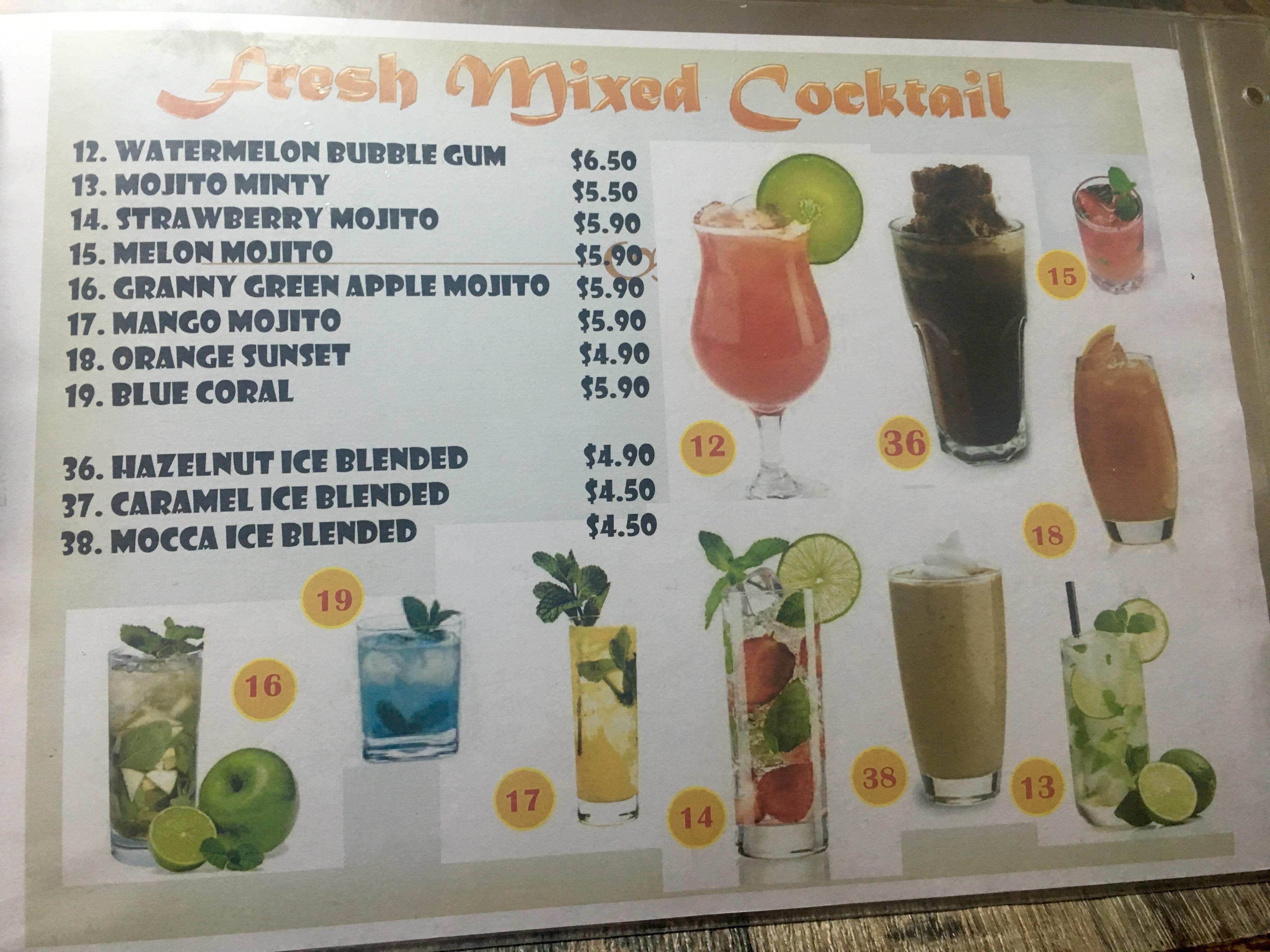 Peachy's Menu Cocktails