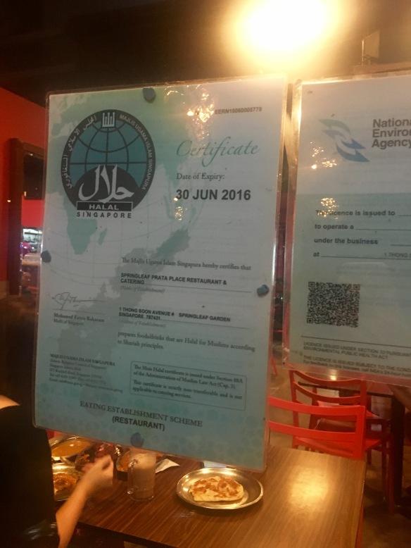 Springleaf Prata Place - Halal Certificate