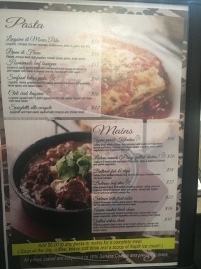 Flava Bistro Lunch Menu - Pasta and Mains