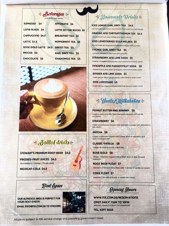 Fix Cafe - Drinks Menu