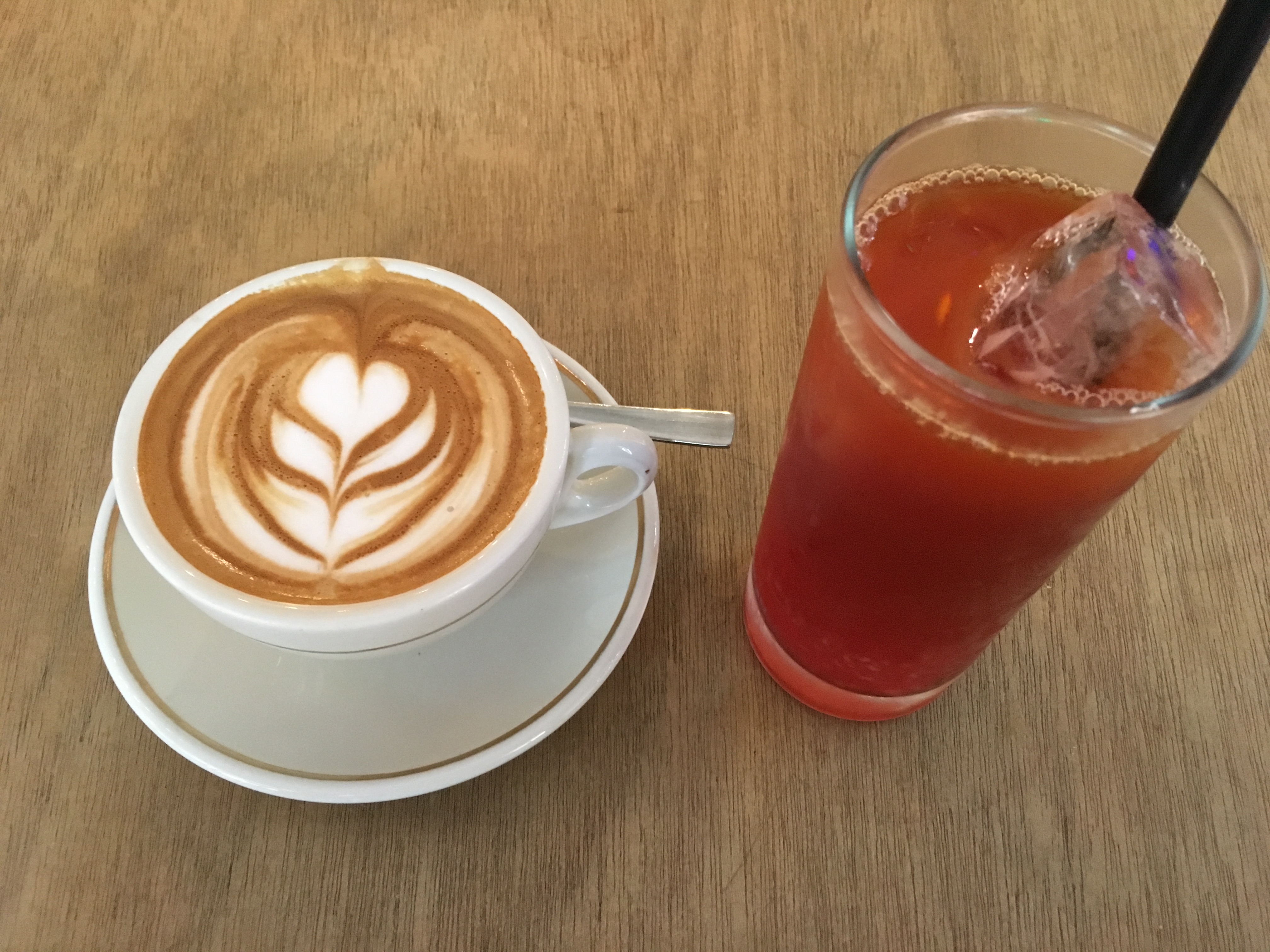 The Bravery Café - Flat White and Iced Raspberry Tea