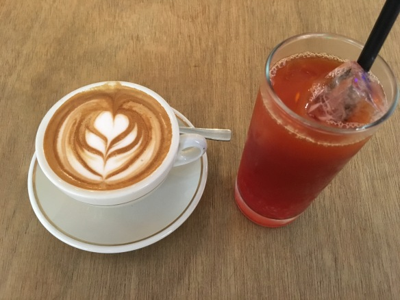 The Bravery Café - Flat White and Iced Raspberry Tea