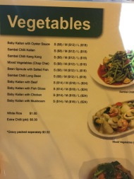 New Hawa - Vegetable Menu