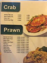 New Hawa - Crab Prawn Menu