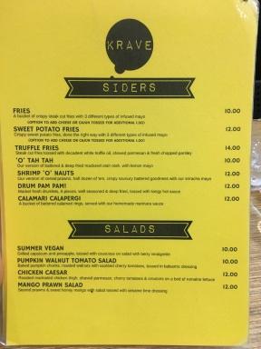 Krave - Sides and Salads Menu