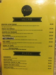 Krave - Mains and Pizza menu