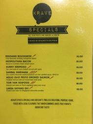 Krave - Pasta Specials Menu