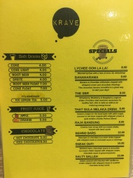 Krave - Drinks and Specials Menu
