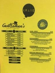 Krave - Coffee And Tea Menu
