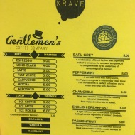 Krave - Coffee And Tea Menu